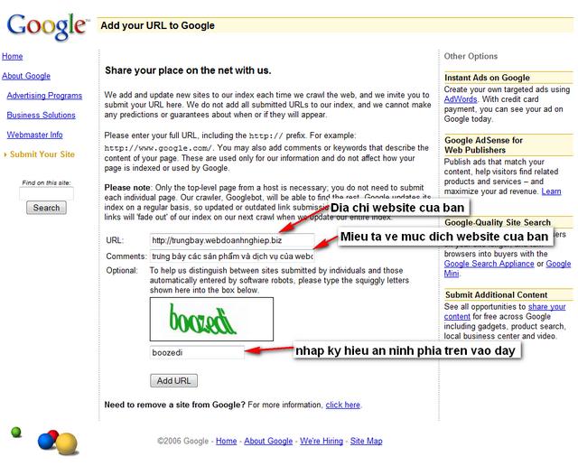 Trang web của google cho phép đưa địa chỉ website bạn vào danh sách lấy thông tin