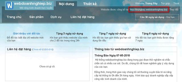 Trang làm việc chính của khách hàng ở hệ thống webdoanhnghiep