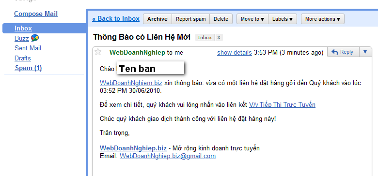 Nội dung email chi tiết