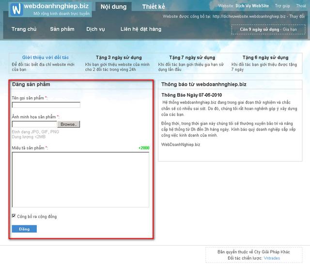 Trang cho phép đăng sản phẩm miễn phí lên mạng