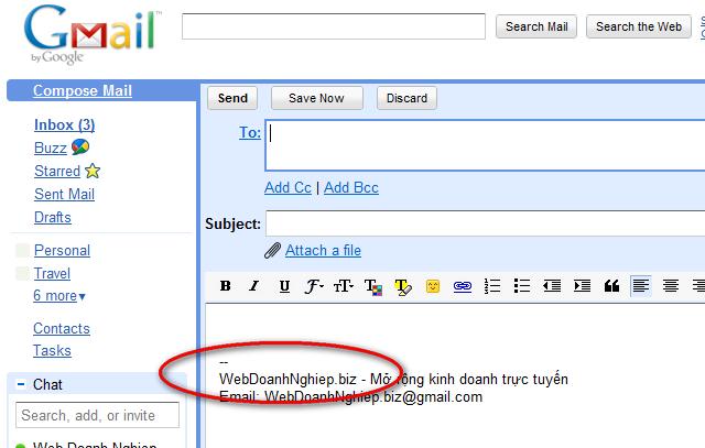 đưa địa chỉ website của bạn vào vùng chữ ký trong email của bạn