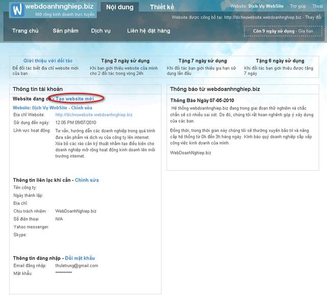Vị trí liên kết tạo website mới được bôi đỏ trong vùng thông tin tài khoản