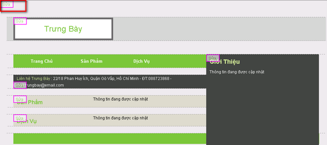 Liên kết thay đổi hình nền của website được bôi đỏ ở góc trên bên trái của website