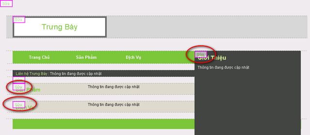 Các liên kết đến chức năng chỉnh sửa khi người dùng đã đăng nhập và xem website của mình