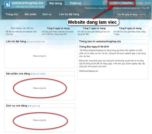 Website mới tạo chưa có sản phẩm hay dịch vụ nào