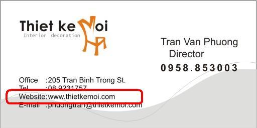 Đưa địa chỉ website vào cardvisit